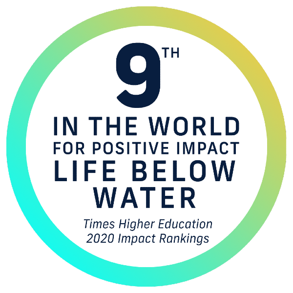 #9 in the world for positive impact - life below water - Times Higher Education 2020 Impact Rankings
